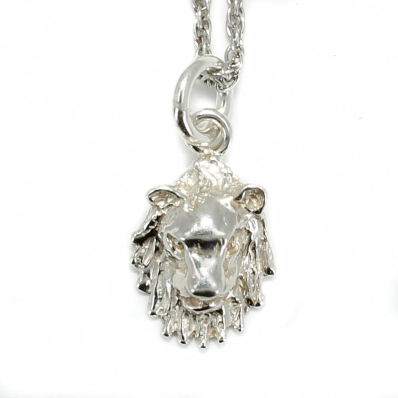 "925 Sterling Silver Lion Head Necklace with 18"" Silver Chain"