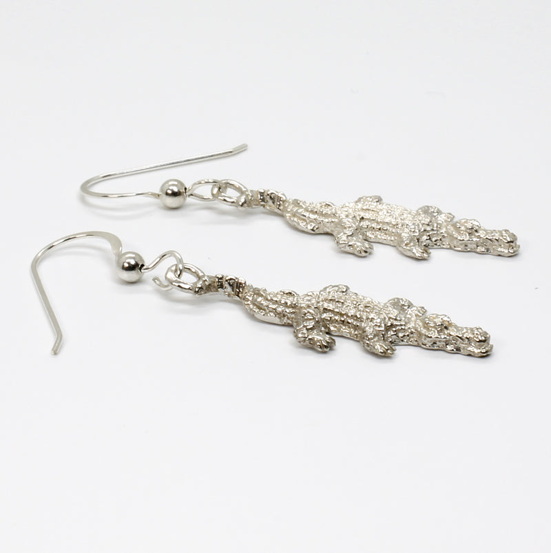 Small Alligator Dangle Earrings in 925 Sterling Silver