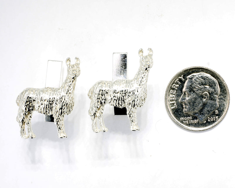 Suri Alpaca Cuff Links for him with Medium Size 925 Sterling Silver Suri Alpacas