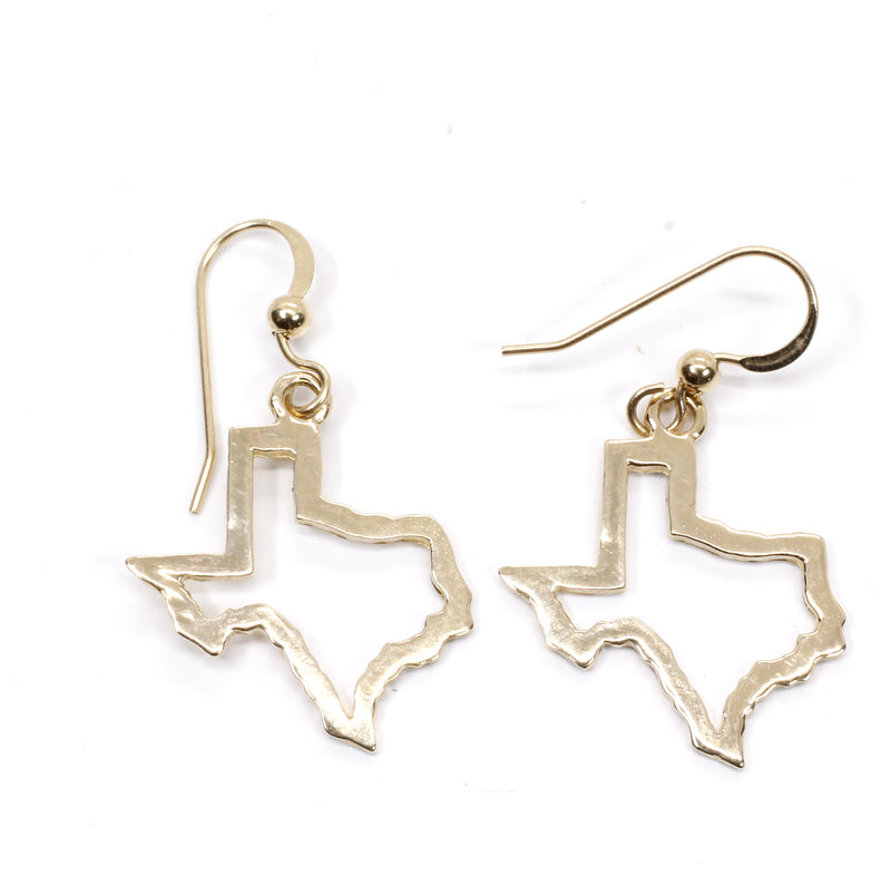 Texas Earrings with Lone Star State of Texas Silhoutte Outline in real 14kt Gold