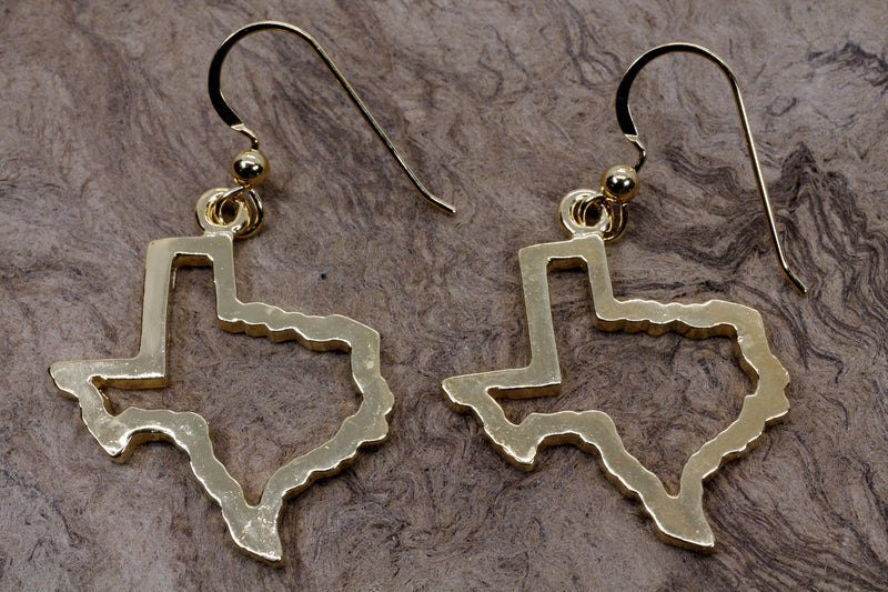 Texas Earrings for her with Lone Star State of Texas Silhoutte Outline in Gold Vermeil