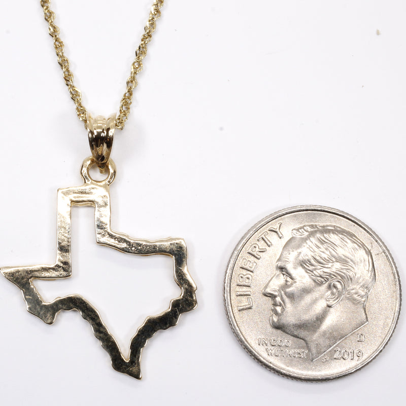 Texas Necklace with Lone Star State of Texas Silhoutte Outline in real 14kt Gold