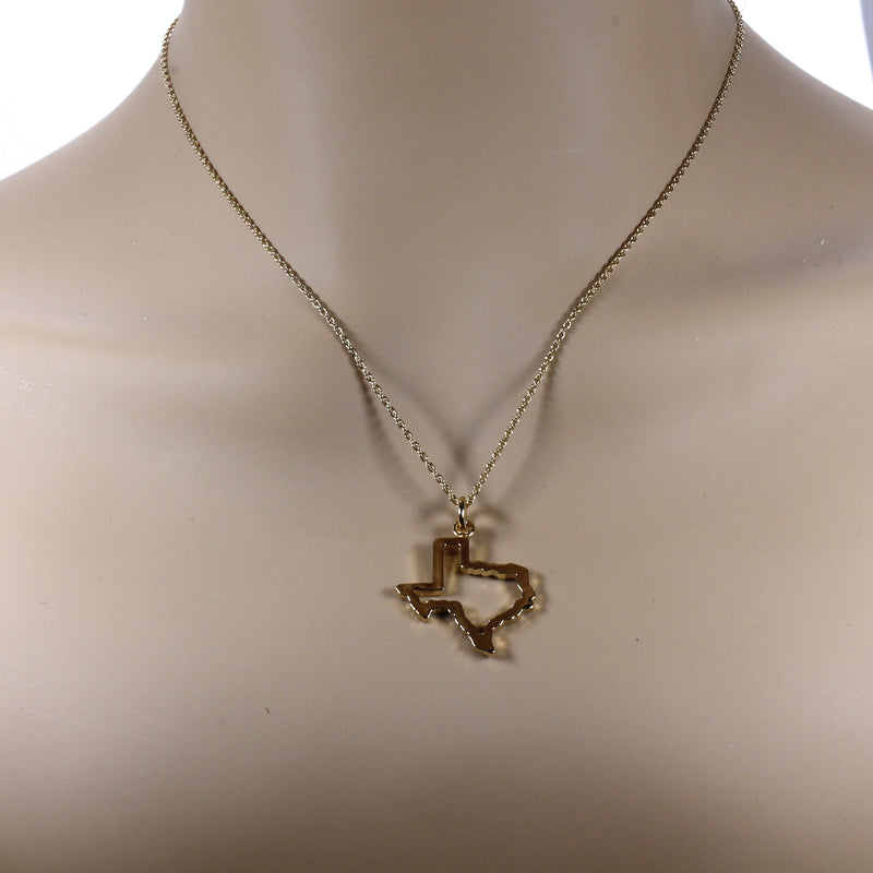 Texas Necklace for her with Lone Star State of Texas Silhoutte Outline in Gold Vermeil