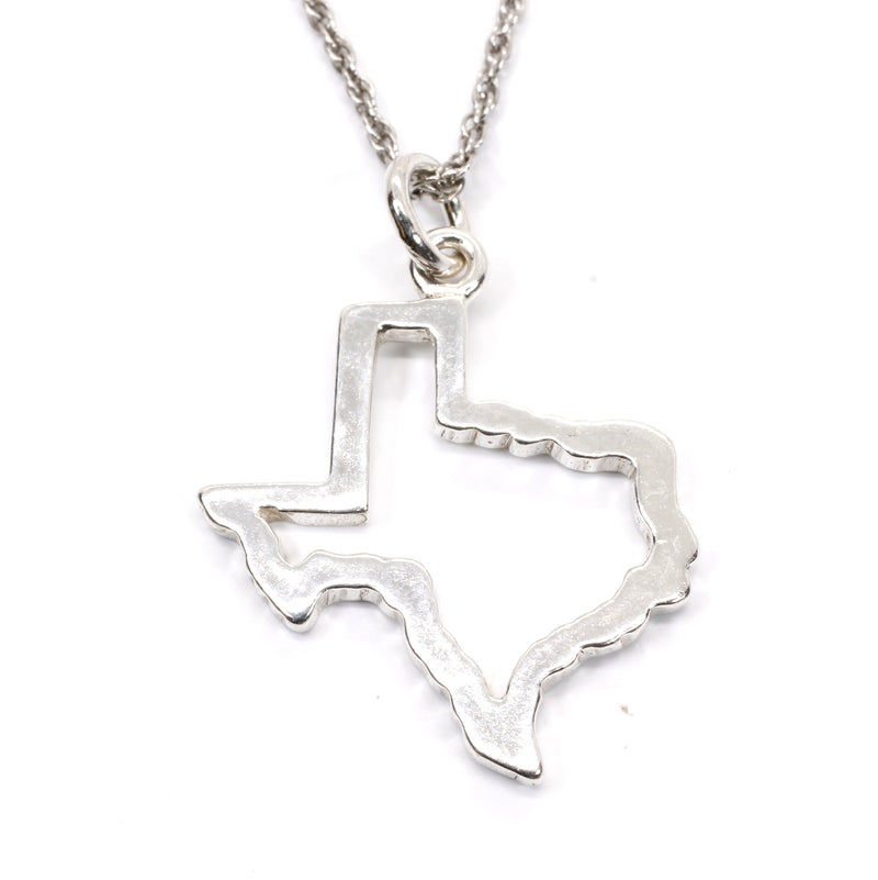 Silver Texas Necklace for her with Lone Star State of Texas Silhoutte Outline