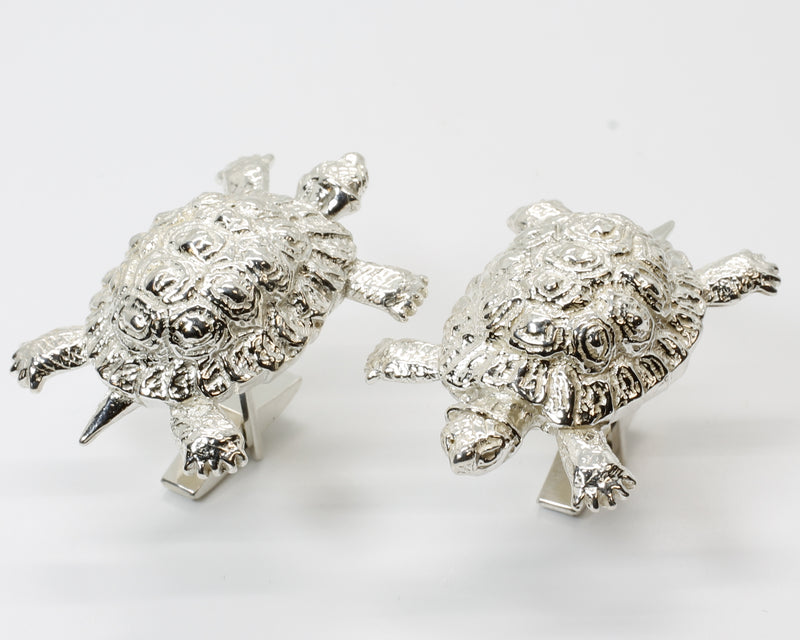 Turtle Cuff Links with Giant Size Solid 925 Sterling Silver Land Turtles or Tortoises