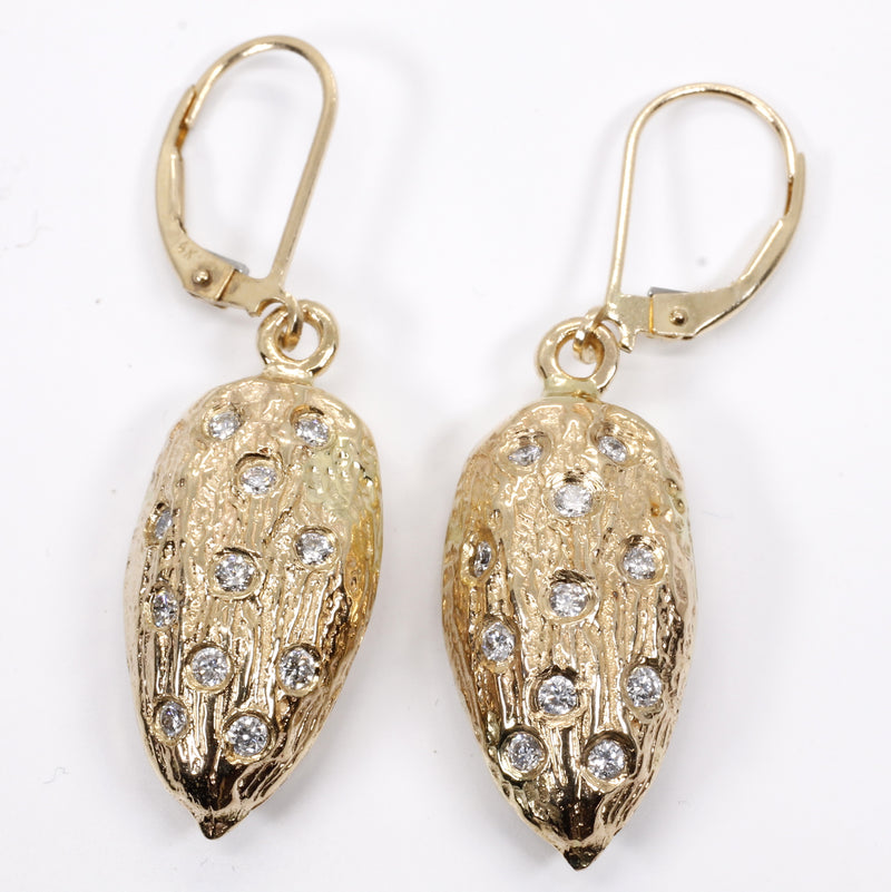 Actual Size Almond Dangle Earrings made in 14kt gold filled with Diamonds