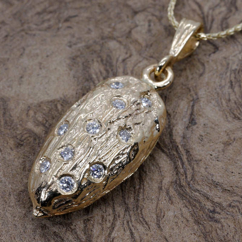 Actual Size Almond Necklace made in 14kt gold filled with diamonds
