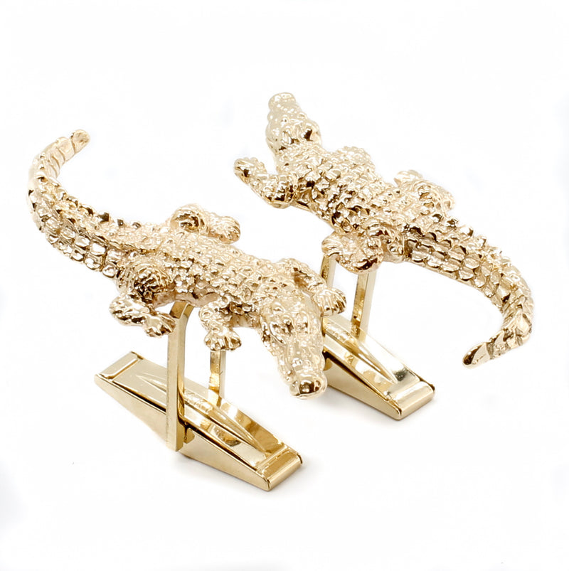 Large Solid 14kt gold Alligator Cuff Links for man
