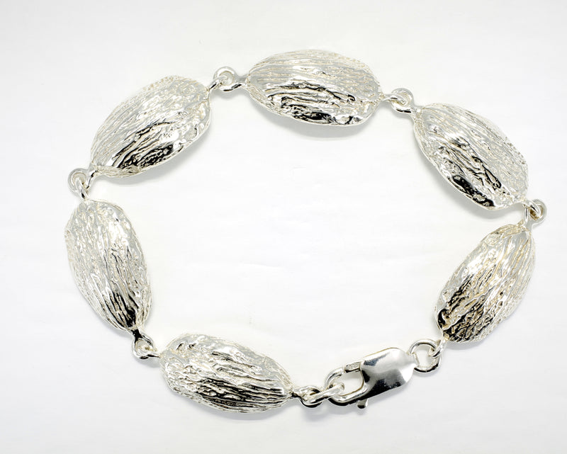 Almond Bracelet with Actual Size Almond Links in 925 Sterling Silver