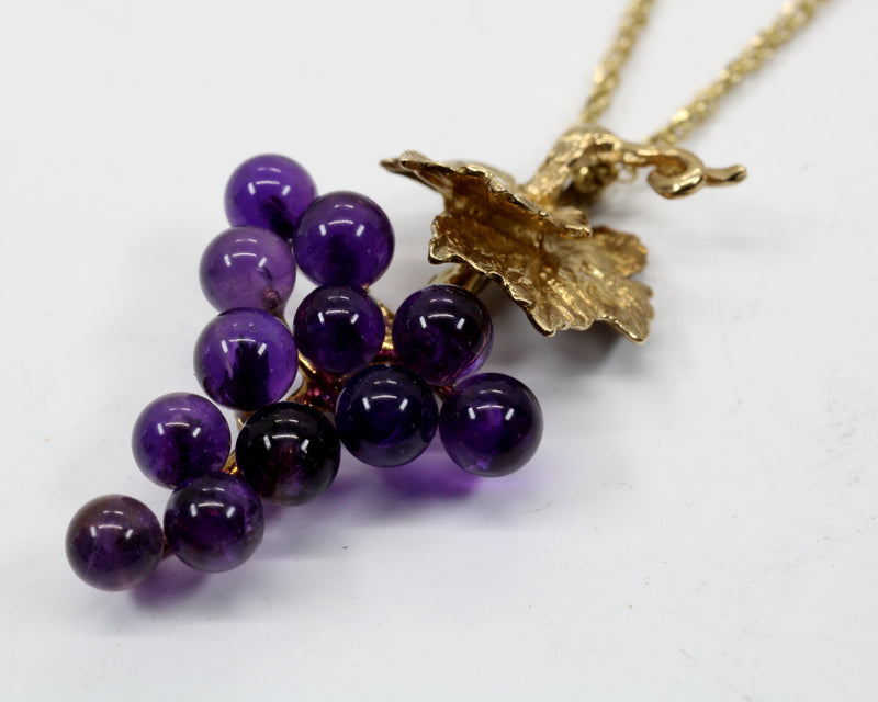 Small Purple Amethyst Grape Cluster Necklace in 14kt. Gold