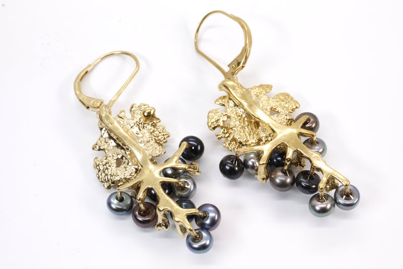 Black Pearl and CZ Earrings grape jewelry made in 14kt. Gold Vermeil