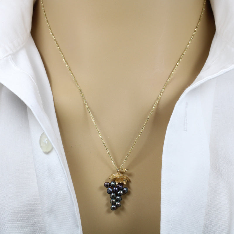 Small Black Pearl Grape Cluster Necklace made in solid 14kt Gold