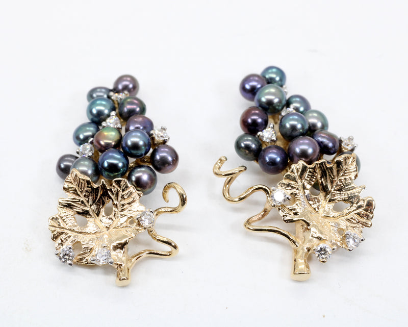 Black Pearl Grape Cluster Earrings with Freshwater Pearls and Diamonds