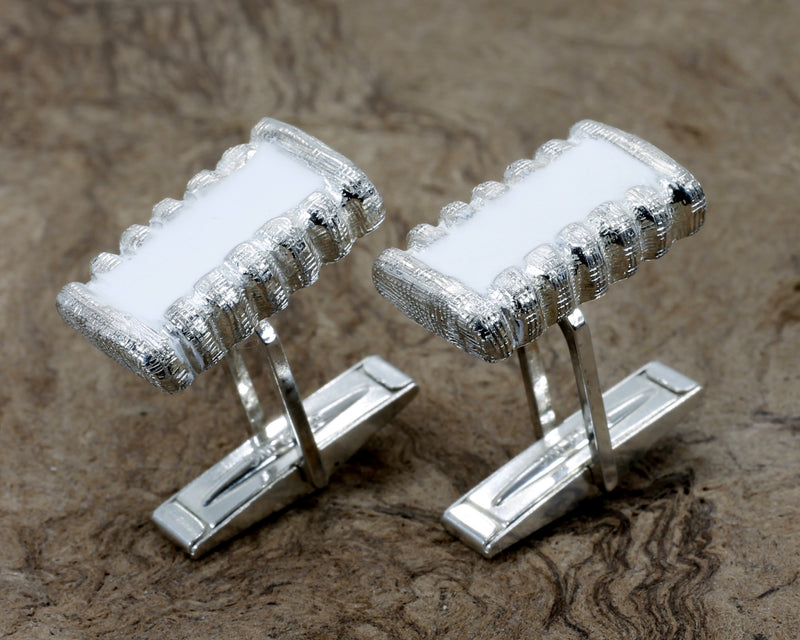 Silver Cotton Bale Cuff Links With Hand Enameled White Cotton Centers