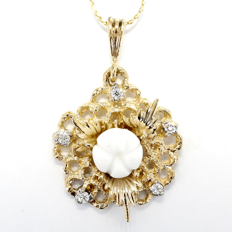 Diamond Gold Cotton Boll Necklace with White Cotton Boll Center
