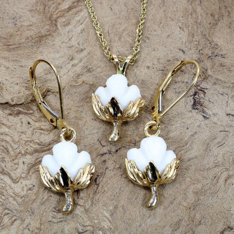 Matching Set of Cotton Boll Necklace And Dangle Earrings in 14kt Yellow Gold