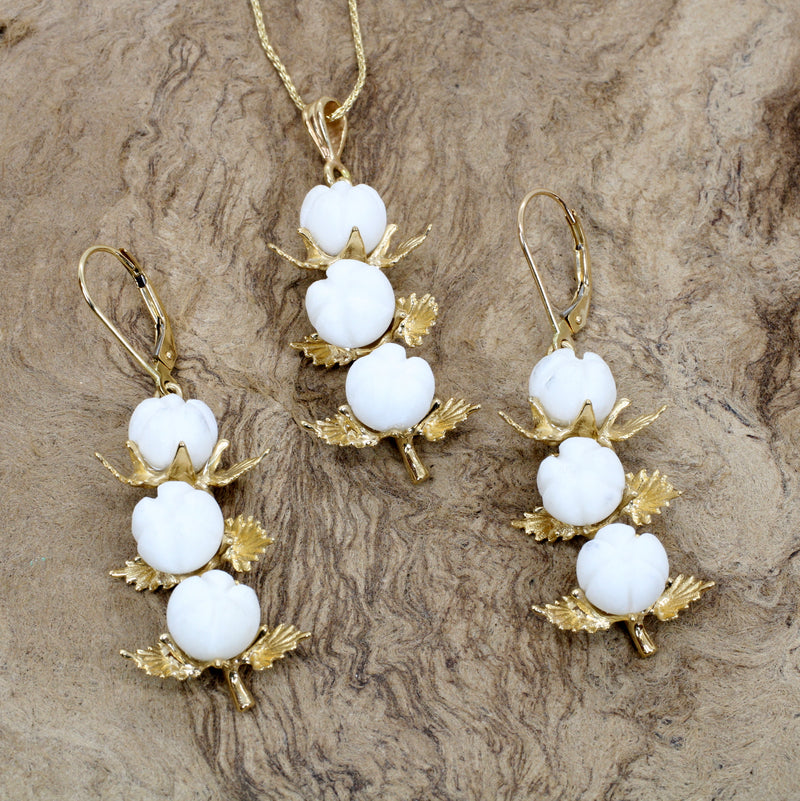 Matching Set of Three Boll Cotton Dangle Earrings and Necklace