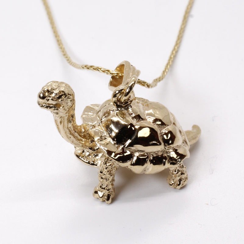 Galapagos Tortoise Necklace with three dimensional solid 14kt gold turtle