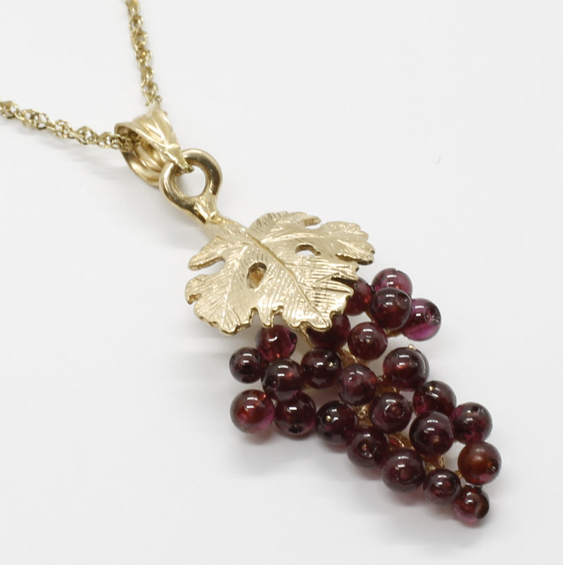 Gold Garnet Cabernet Grape Cluster Necklace