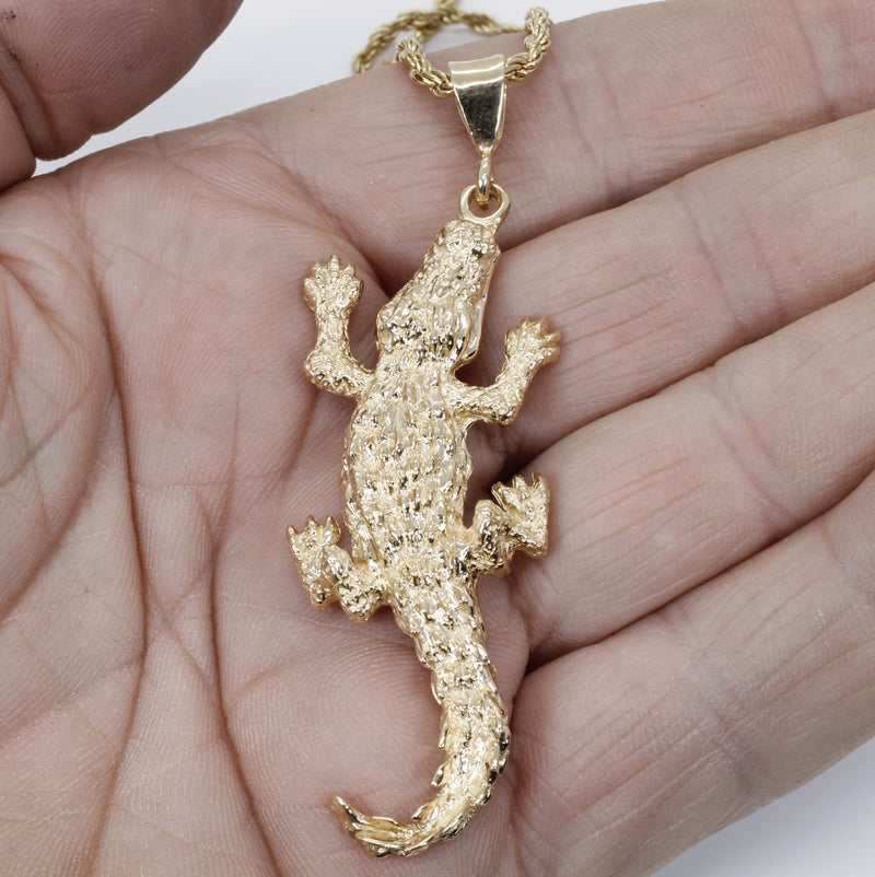 Giant Size Alligator Necklace in 14kt Yellow Gold for man or woman