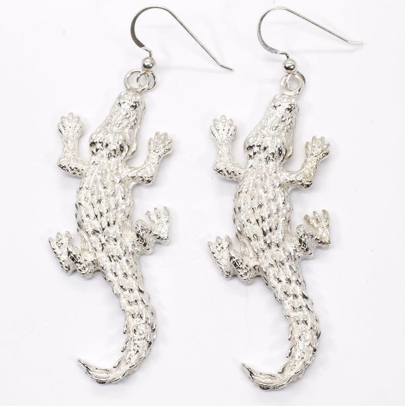 Giant Size Alligator Earrings in 925 Sterling Silver for gator lover gift