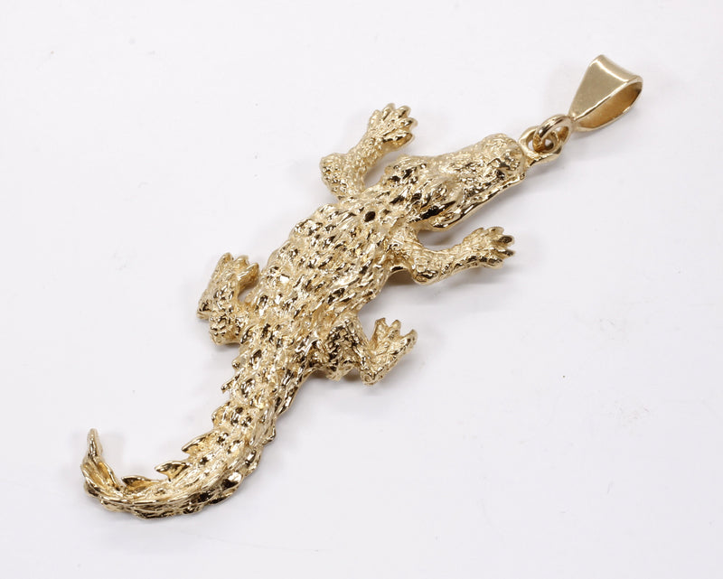 Giant Size Alligator Pendant in Solid 14kt Yellow Gold for man or woman