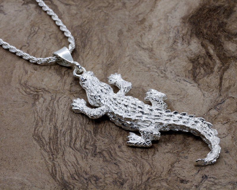 Giant Size Alligator Necklace in 925 Sterling Silver for man or woman