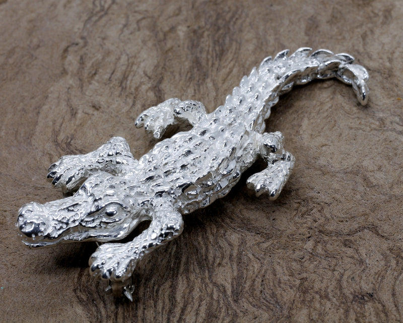 Giant Alligator Pin/Brooch in Real 925 Sterling Silver for a woman or man