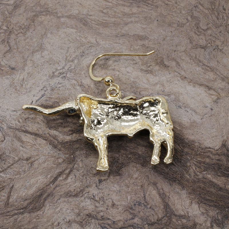 Giant Longhorn Earrings with Large Showy Texas Longhorns in gold vermel