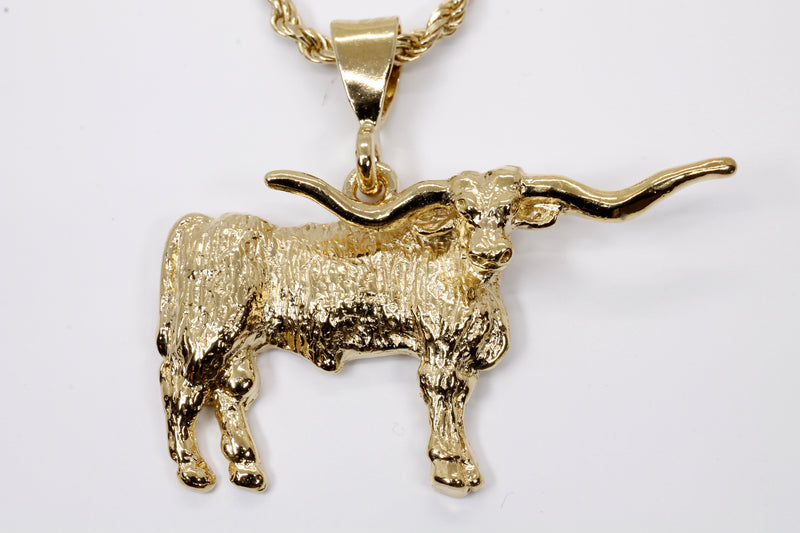 Giant Longhorn Necklace with Majestic Texas Longhorn made in 14kt gold vermeil