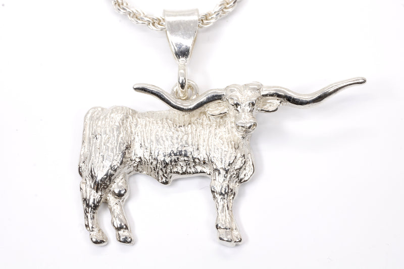 Giant Longhorn Necklace with Majestic Texas Longhorn made in solid 925 sterling silver