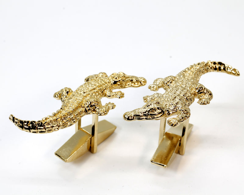 Gold Alligator Crocodile Cuff Links gift for him