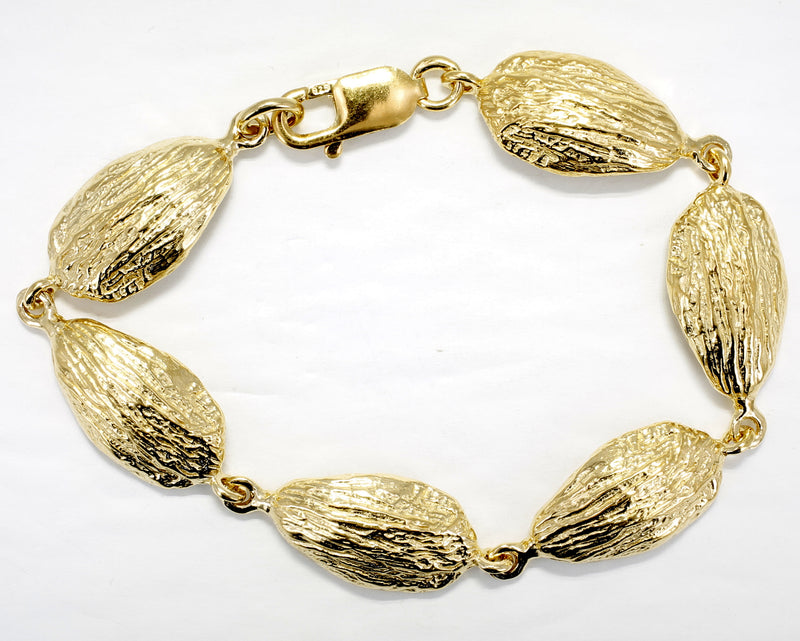Gold Almond Bracelet with Six Actual Size Gold Almond Links in 14kt Gold Vermeil