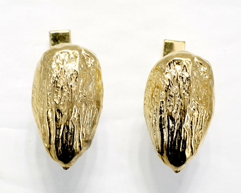 Gold Almond Cuff Links with Actual Size 14kt Gold Vermeil Almonds