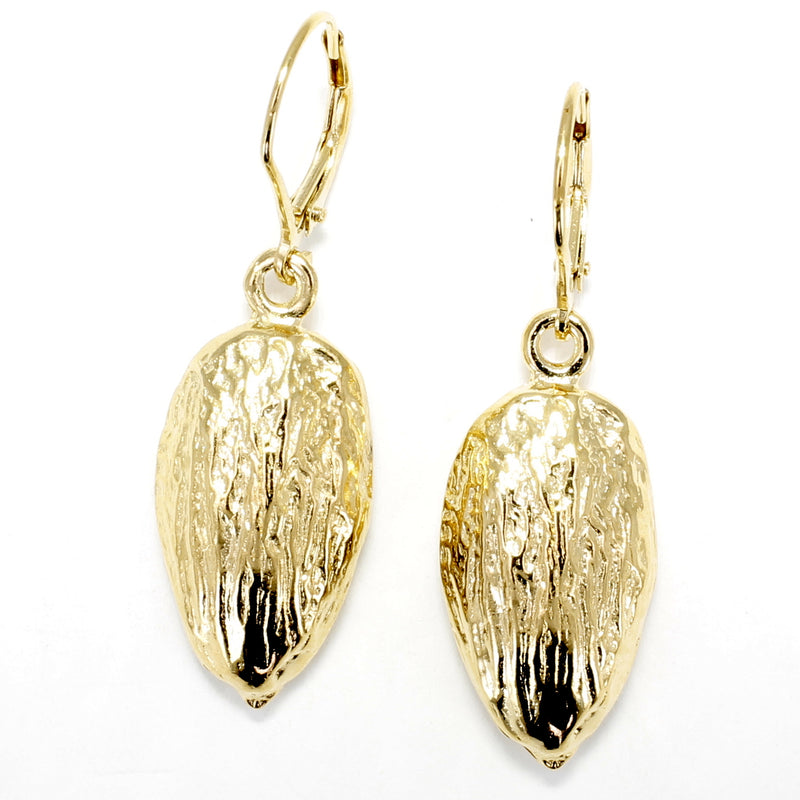 Gold Almond Earrings in Actual Size 14kt Gold Vermeil Almonds