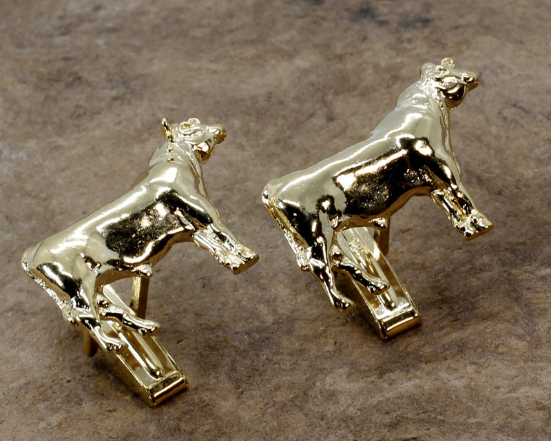 Gold Bull Cuff Links for him with 14kt Gold Vermeil Prize Angus Bulls