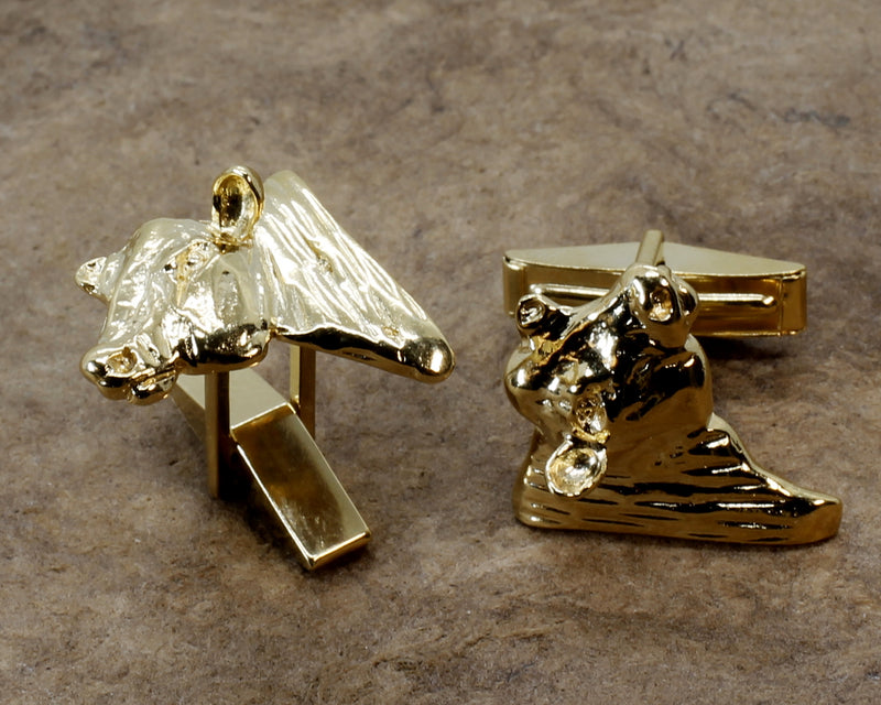 Gold Bull Cuff Links for him with 14kt Gold Vermeil Heads of Angus Bulls