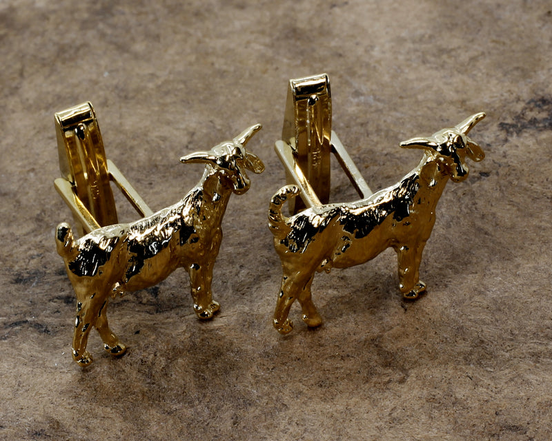 Gold Boer Goat Cuff Links in Medium Size Goat with Horns For Mens Suit