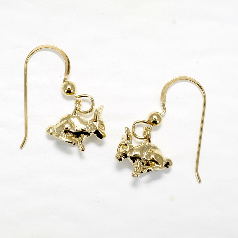 Gold Rabbit Earrings with 14kt gold vermeil Little bunny rabbits