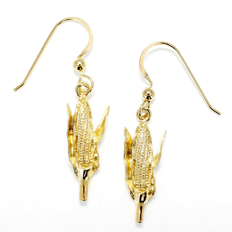 Gold Corn Earrings with 14kt Gold Vermeil Corn Cob Dangling on French wires