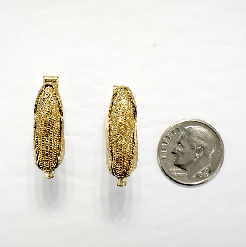 Gold Corn Cob Cuff Links for man with 14kt Gold Vermeil highly detailed Ears of Corn