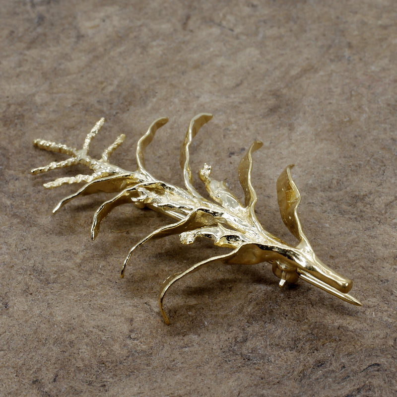 Gold Corn Brooch with 14kt Gold Vermeil Tall Corn Stalk Brooch or Pin