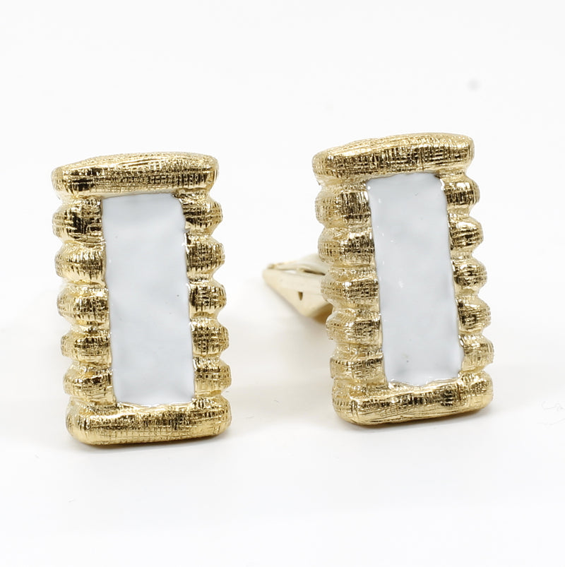 Gold Cotton Bale Cuff Links With Hand Enameled White Cotton Centers