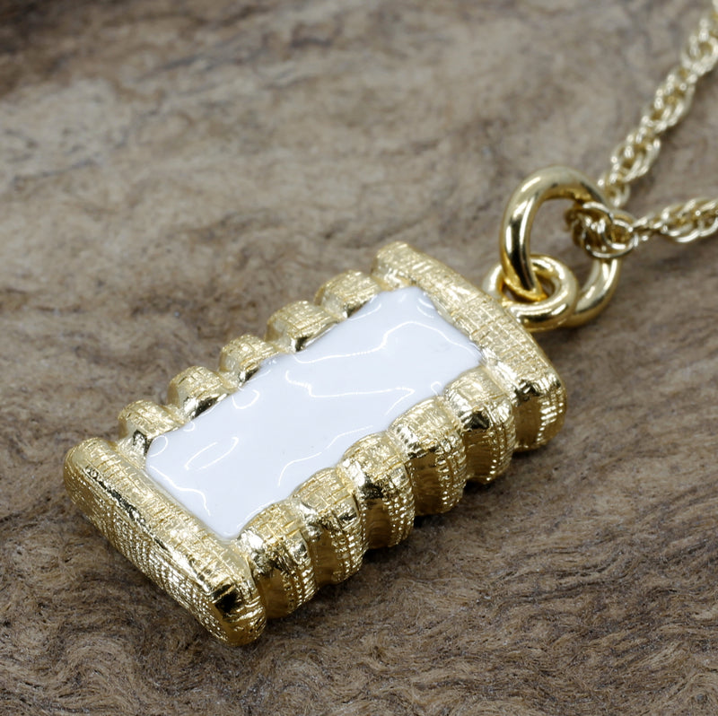 Gold Cotton Bale Necklace With Hand Enameled White Cotton Center