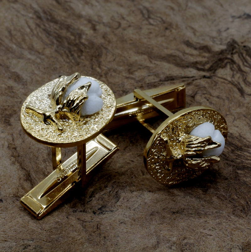 Gold Cotton Boll Cufflinks With White Cotton Boll in 14kt Gold Vermeil Settings