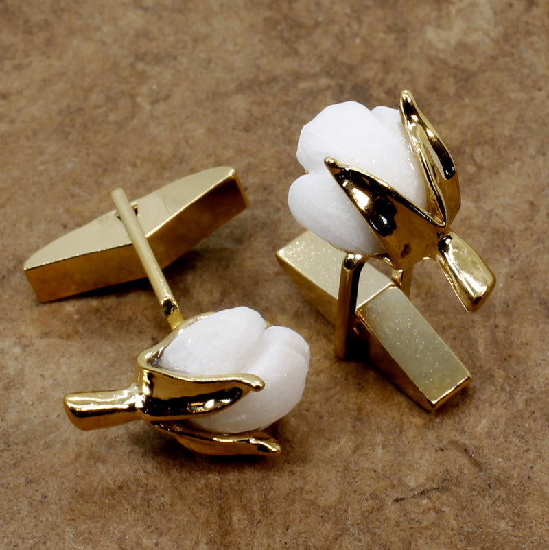 Handmade Gold Cotton Boll cuff links in 14kt Gold Vermeil with carved white stone