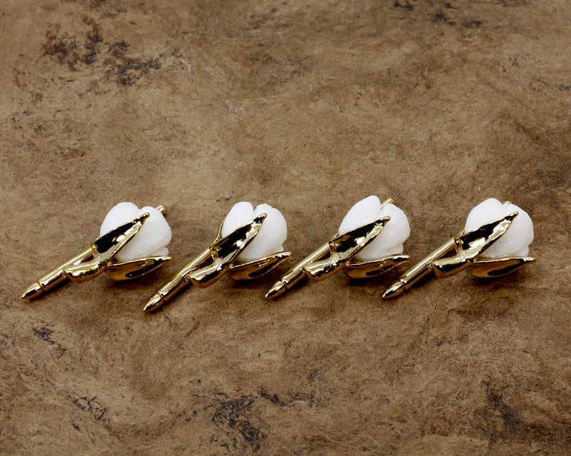 Handmade Gold Cotton Boll Tuxedo Shirt Studs, 2nd Anniversary Gift for men
