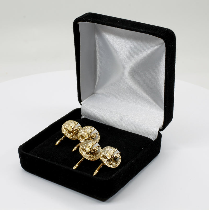 Gold Cotton Boll Tuxedo Shirt Studs With Handmade White Cotton Bolls