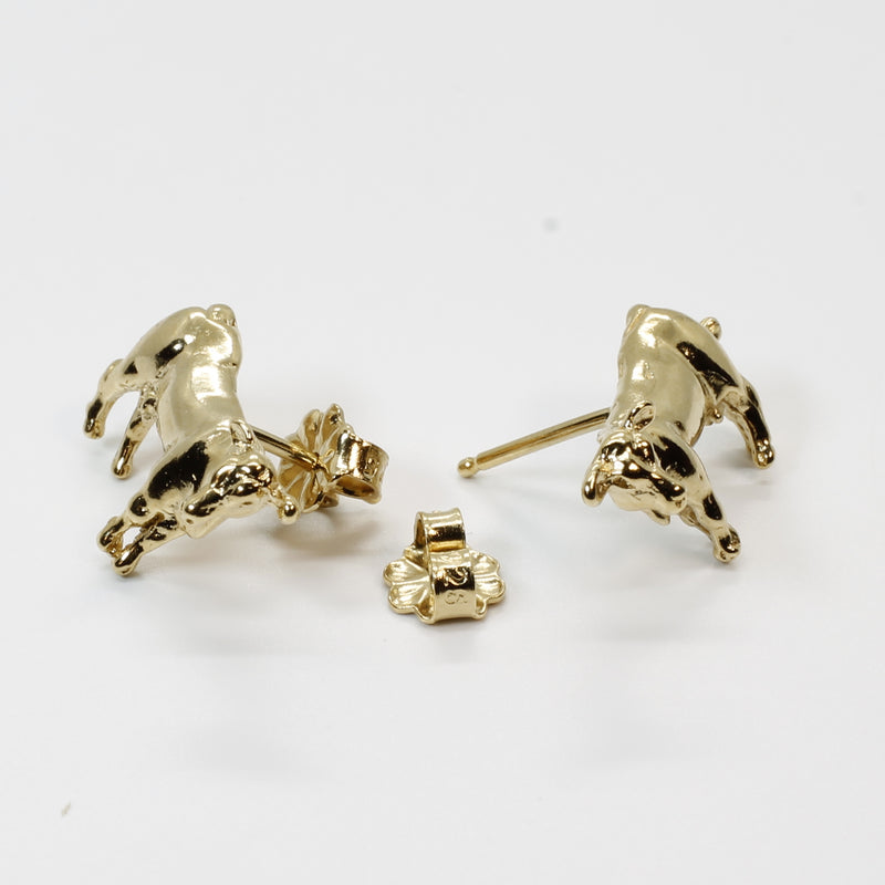Milk Cow Earrings of a 14kt Solid Gold Cow in stud post Earrings