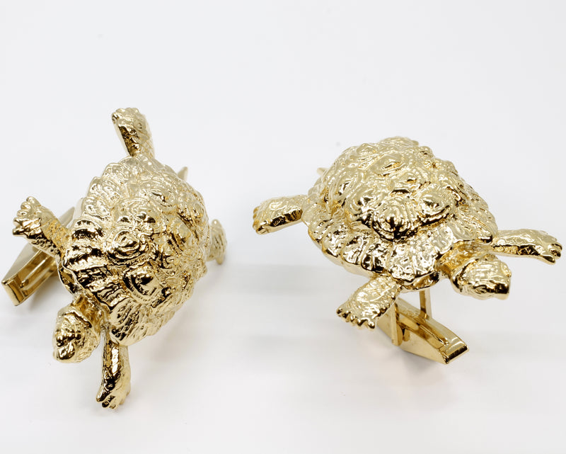 Gold Turtle Cuff Links With Giant Size 14kt Gold Vermeil Land Turtle Tortoises
